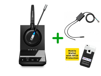 Polycom Compatible Sennheiser Wireless SDW 5016 Headset Bundle For Polycom Phones, Bluetooth Phones, PC/MAC - EHS included | SoundPoint Phones: IP 335, IP 430, IP 450, IP 550, IP 560, IP 650, IP 670, VVX 101, VVX 201, VVX300, VVX310, VVX400, VVX410 (SEN SDW5016-PLY)