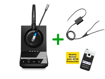 Cisco Compatible Cordless Headset Sennheiser SDW 5016 Bundle - For Cisco Deskphones, Bluetooth Phones, PC/MAC - Cisco Models: Cisco 8941 and 8945 | Includes Remote Answering (EHS) and Bonus Mobile Wallet Holder (SEN SDW5016-CIS4)