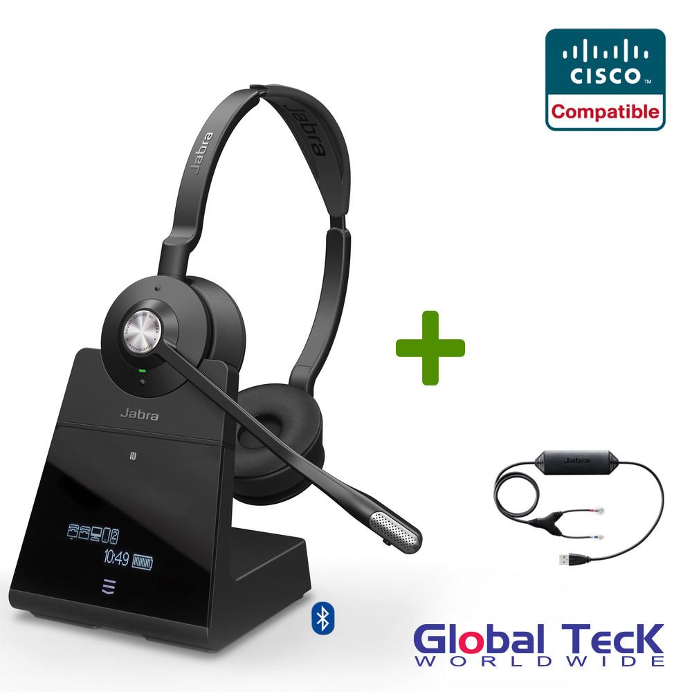 Cisco Compatible Jabra Engage 75 Wireless Headset Bundle with EHS Adapter,  9559-583-125-CIS30   Cisco IP Phones 8851, 8861, 8865, 8961, 9971, 9951,