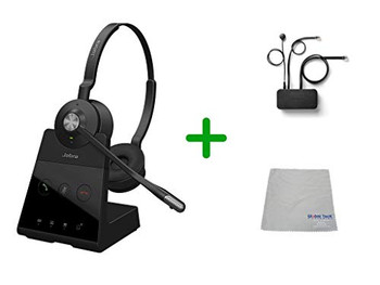 Avaya Compatible Jabra Engage 65 Wireless Duo Headset Bundle with EHS Adapter, 9559-553-125-AVA35 | For Avaya Deskphones and PC/MAC - Compatible Models: J169, J179, 1608, 1616, 1608, 1616, 9620, 9630, 9640, 9650 | Busy Light
