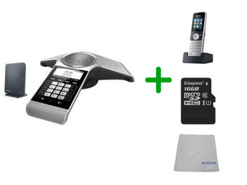 Yealink CP930W Wireless IP Conference Phone Office Bundle - Bluetooth for Mobile Connectivity | Includes Yealink 2 Cordless Handsets | SD Card for Recording Calls | 360 hours of standby battery