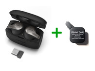 Jabra 65T Bluetooth Headset Earbuds - Evolve 65T 6598-832-209-B   Wireless Bluetooth for Music, PC/MAC, Android, iOS devices   Compatible for Softphones, Alexa, Siri, Google Assist