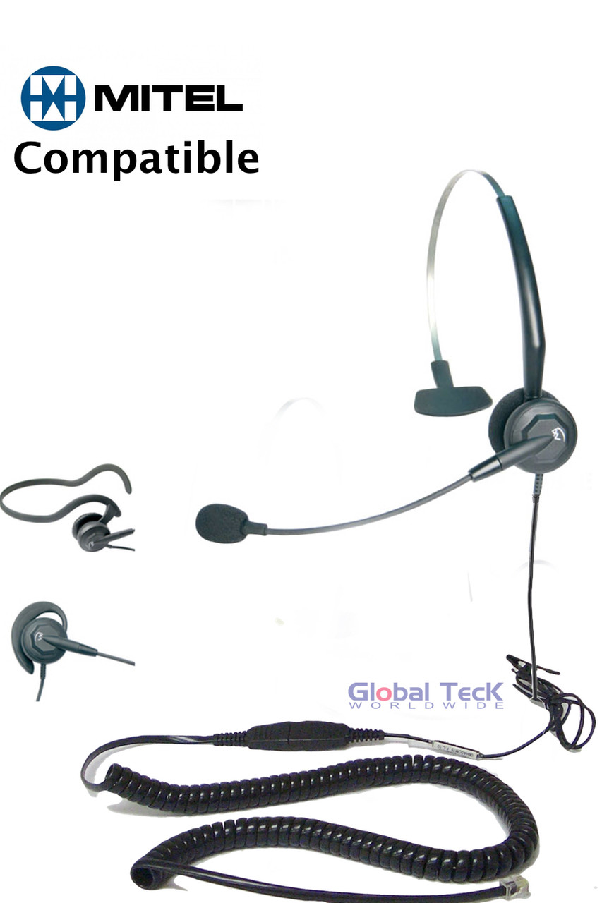 Mitel compatible Tria Convertible Headset | Mono Direct Connect headset |  Mitel IP Phones: 5000 & 8000 series, SuperSet, Superconsoles with RJ-9