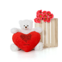 24in White Scruffs Tubs with Red HVD  I Love You Heart Pillow
