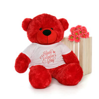 48in Bitsy Cuddles Red Giant Teddy Bear in Adorable Happy Valentine's Day T-Shirt