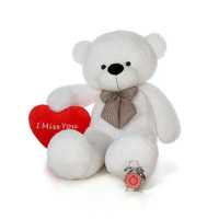 60in White Bear by Giant Teddy with an I Miss You plush heart