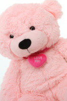 Lady L Cuddles pink teddy bear with necklace 24in