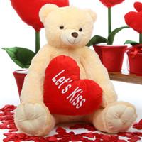 Tiny Heart Tubs cream teddy bear with heart 42in