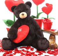 Baby Heart Tubs chocolate brown teddy bear with heart 42in