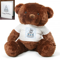 Blue Birthday Cake Chubs teddy bear 48in