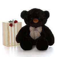 4ft Life Size best gift Teddy Bear Juju Cuddles soft black fur