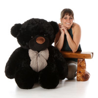 4ft Life Size Teddy Bear Juju Cuddles soft and huggable black fur
