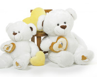 Chomps Big Love large white silver heart teddy bear 42in