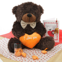 He Loves Me Bear Hug Care Package Brownie Cuddles chocolate brown teddy bear 18in Miniature teddy bear pictured is no longer included in this package.