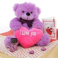 True Love Bear Hug Care Package DeeDee Cuddles purple teddy bear 18in
