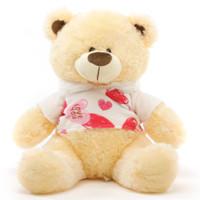 BooBoo Kisses Shags cream teddy bear with love hooded sweater 27in