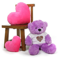 DeeDee is the Most Adorable Personalized Teddy Bear with the Softest Purple Plush Fur in the World!