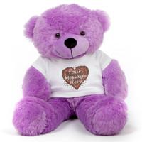 Purple 30in DeeDee Cuddles Personalized Teddy Bear with Heart Truffle T-shirt