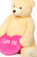 Tiny Heart Tubs cream jumbo teddy bear with pink I Love You heart 52in