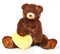 Smooches Heart Tubs dark caramel jumbo teddy bear with yellow Lets Kiss heart 52in