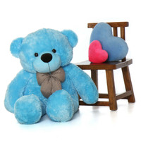 4ft Life Size Teddy Bear super soft light blue fur Happy Cuddles