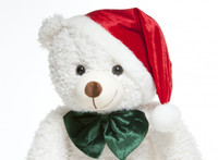 White Christmas Teddy Bear 32 inch with Santa Hat: Jingles Woolly Tubs