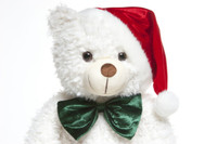 Bell Woolly Tubs 42 inch Big White Christmas Teddy Bear with Santa hat!