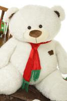 52 inch Giant White Christmas Teddy Bear Bo Fluffy Shags, Big Gift Idea!