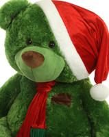 45 inch Cheerful Willy Shags: Green, Big Christmas Teddy Bear in a Scarf & Santa hat