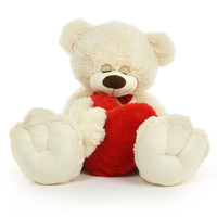 3 1/2 feet Dreamy Mittens, Cuddle Buddy and Unique Valentine Teddy Bear with Heart Pillow