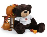 Dark Brown Huge Teddy Bear Brownie Cuddles brings Big Life to your Halloween Greeting!