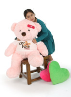 Sweet 'Get Well Soon' Bears from Giant Teddy in Pink, Cream and Mocha 38in