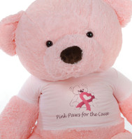 "5ft Pink Giant Teddy Bear Gigi Chubs says ""Think Pink!"""