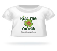 'Kiss Me I'm Irish' Giant Teddy Bear Personalized Shirt