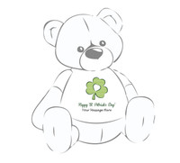 """Personalized """"Happy St. Patrick's Day"""" Clover Giant Teddy Bear Shirt"""