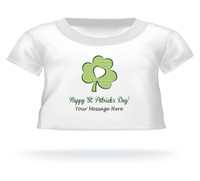 """""""Happy St. Patrick's Day"""" Clover Giant Teddy Bear Personalized Shirt"""