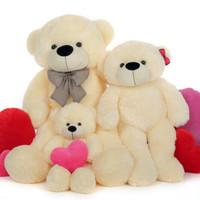 Papa Bear, Mama Bear, Baby Bear, Cream Cuddly Family of Giant Teddy Bears