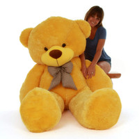 Daisy Cuddles adorable huge 72in yellow teddy bear smiles and love, so big, soft and huggable