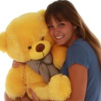 happiest 30in Sweet huggable Big Yellow daisy Teddy Bear Cuddly  perfect Giant Teddy cuddles