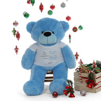 'My First Christmas' holiday soft Bear Life Size 48in Blue Happy Cuddles