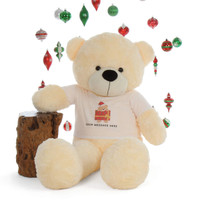 60in Cuddly Life Size  Personalized Christmas Teddy Bear Cream Cozy Cuddles Gift
