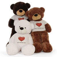 60in family Personalized White Chocolate Mocha Teddy Bear Cuddles in Red Heart Shirt Cutest life size