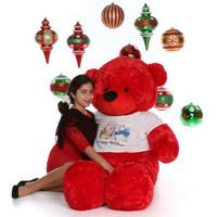 5ft Red Bear Happy Holidays Giant Teddy Bitsy Cuddles
