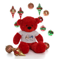 60in Red Bitsy Cuddles Giant Teddy Snowman Shirt Ornaments