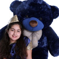 48in Huge Soft and Cuddly Navy Blue Teddy Bear