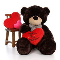"""5ft Brownie Cuddles Giant Teddy Dark Brown Bear with """"Will You Be My Valentine?"""" pillow"""