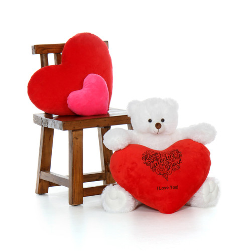 2ft Happy Valentine's Day Teddy Bear White Scruffs Tubs with plush red heart pillow
