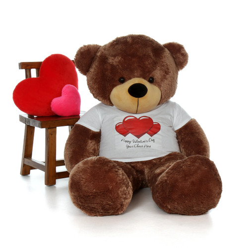 5ft Sunny Cuddles Mocha Brown Giant Teddy in Happy Valentine's Day Red Heart Shirt