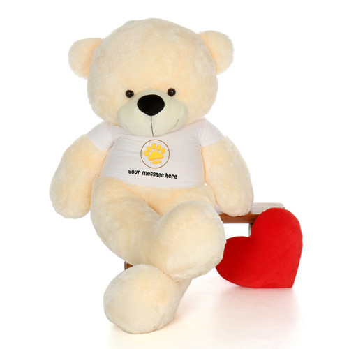 6ft Cozy Cuddles Giant Teddy Bear Vanilla color in Valentine's Day Paw Stamp T-Shirt