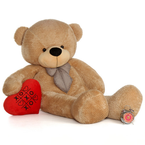 72in Huge Life Size Amber Valentine's Day Teddy Bear Shaggy Cuddles with beautiful XOXO red heart pillow